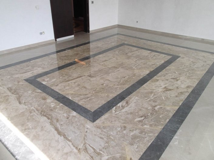 Beige and black marble flooring