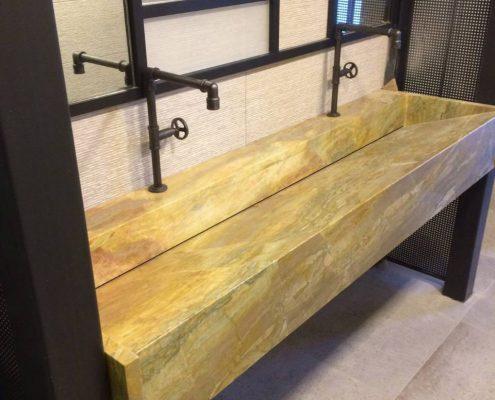 Pocahodas marble sink, modern marble bathroom
